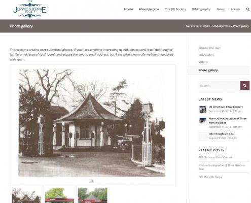 Phot Gallery page on the Jerome K Jerome website